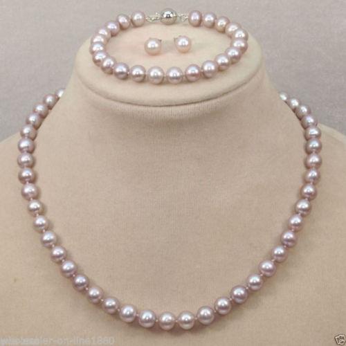 Livraison Gratuite>>>>> 9-10mm naturel du sud mer rose pourpre perle collier bracelet boucles d'oreilles