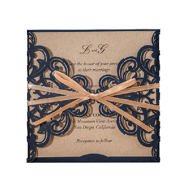 50x navy blue business cards invitation with gold ribbon bow knot