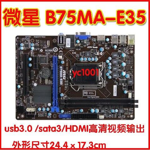 Carte mère d'origine pour MSI B75MA-IE35 DDR3 LGA 1155 conseil pour 32NM 22NM H61 De Bureau motherborad Livraison gratuite