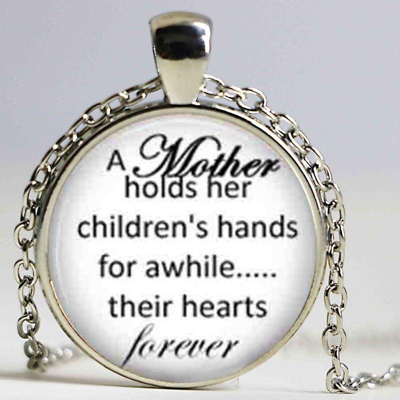 Ожерелье матери и ребенка цитаты, мать ее детских рук ювелирные изделия, День матери подарок мама кулон ...