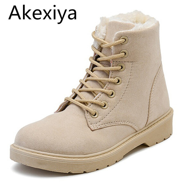 cf943a49e Akexiya botines mujer 2017 nueva llegada de la manera de gamuza botas de  nieve de invierno