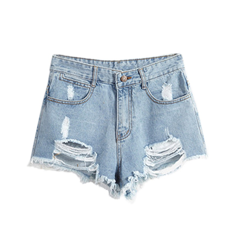 Summer Wind Female Blue High Waist Denim Shorts Women Worn Loose Hole Shorts S72