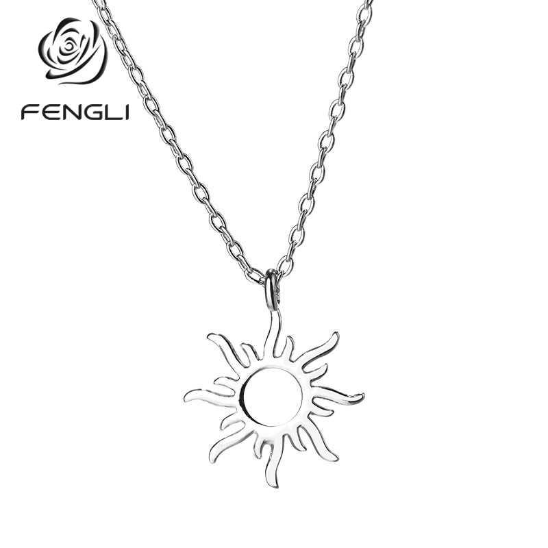 Fengli 925 Zilveren Kleur Leuke Zon Ketting Hanger Ondeugende Speelse Ketting Vrouwen Hoge Kwaliteit Hanger Voor Verjaardagscadeau