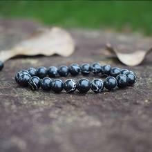 Fashion Black Turquoises Beaded Bracelets Women Natural Stones Beads Handmade Strand Bracelets Semi-precious Handwoven Jewelry