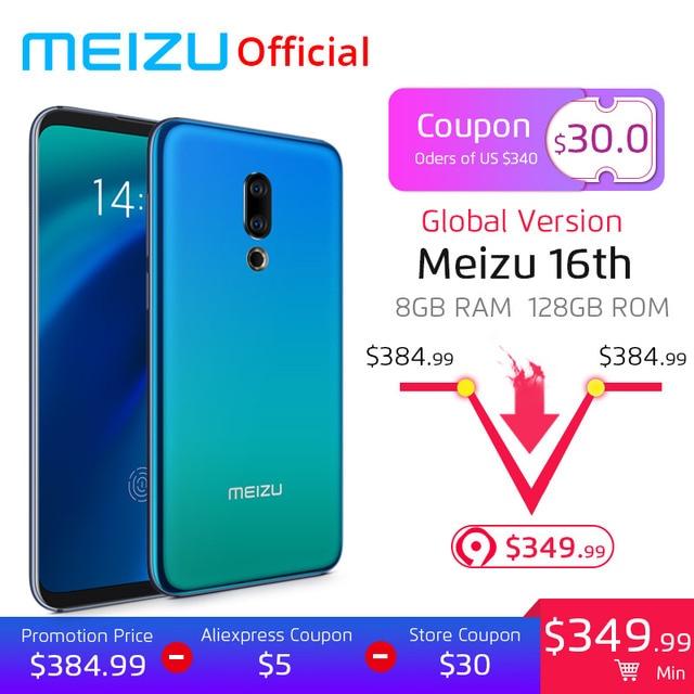Meizu 16th SmartPhone 8GB 128GB Snapdragon 845 Octa Core 16 th Android Phone Dual Rear Camera In-Screen Fingerprint