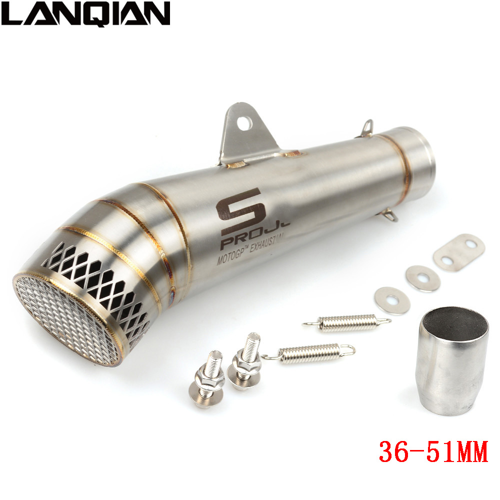 Laser Marking Motorcycle SC Exhaust Pipe Scooter MOTO Modified Exhaust For yamaha mt07 mt09 tmax 500 530 xj6 r3 r15 r25 mt 07 09 laser marking sc motorcycle exhaust pipe for yamaha r3 r1 r6 yzf fz16 z750 honda nc 700 nc750x nc750 2012 2013 2014 2015 2016