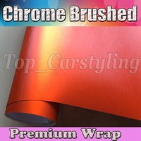 Orange Matt Chrome Brushed Vinyl Car Wrap Foile With Air bubble free / METALLIC CAR STYLING COVERING 1.52x30m/roll 5x98ft