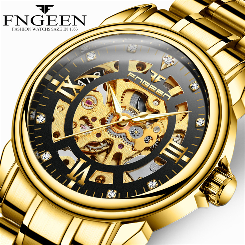 FNGEEN Golden Mechanical Watch Men 2018 Fashion Engraving Dial Full Steel Skeleton Clock Automatic Watch Male Diamond Wristwatch fashion fngeen brand simple gridding texture dial automatic mechanical men business wrist watch calender display clock 6608g