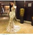 Vestido De Festa Diseñador Yousef Aljasmi Nude Color Marfil de Encaje Joya Pluma Diseño de La Sirena Vestidos de Noche Abendkleider 2015