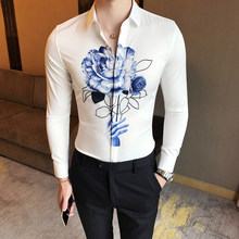 e8028773270 2018 корейский стиль Цветочный принт Для мужчин рубашка с длинным рукавом  стрейч Повседневное Для мужчин s рубашки Slim Fit Cami.