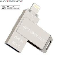 WANSENDA Rotatable Metal 3 In 1 Lightning OTG USB Flash Drive Pen Drive 16GB 32GB 64G