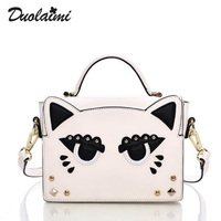 Women Messenger Bag Hip Hop Cat Women Bag Fashion Rivet Flap Handbag Female Bag Versatile Shoulder