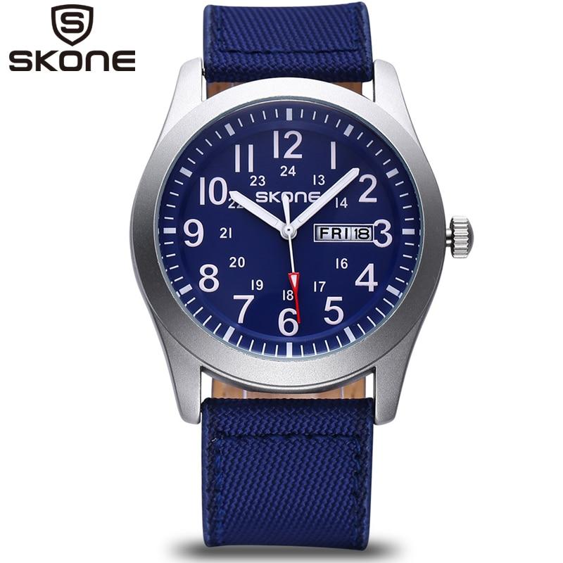 SKONE Male Classic Canvas PU Strap Watches Men Date Waterproof Casual Army Military Watch Analog Quartz Wristwatches Man 2017