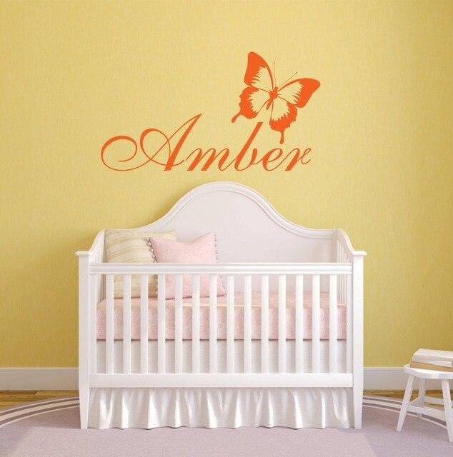 Wandtattoo Schmetterling Kinderzimmer | Benutzerdefinierte Name Wandtattoo Schmetterling Modernes Muster