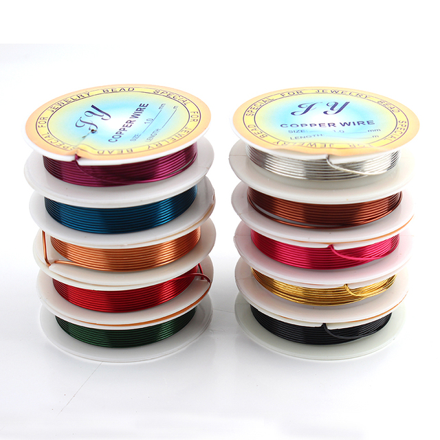 Wholesale 10pcslot jewelry copper wire solid 10 color mixed wholesale 10pcslot jewelry copper wire solid 10 color mixed wrapping beading 18 gauge total greentooth Gallery