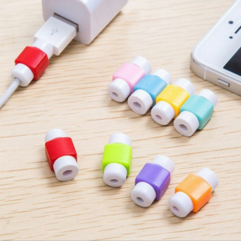 Mini 10pcs Candy Color Mobile Phone Charger USB Cable Winder Organizer Saver Protector Protective Cute Ice Cream Cover Decor