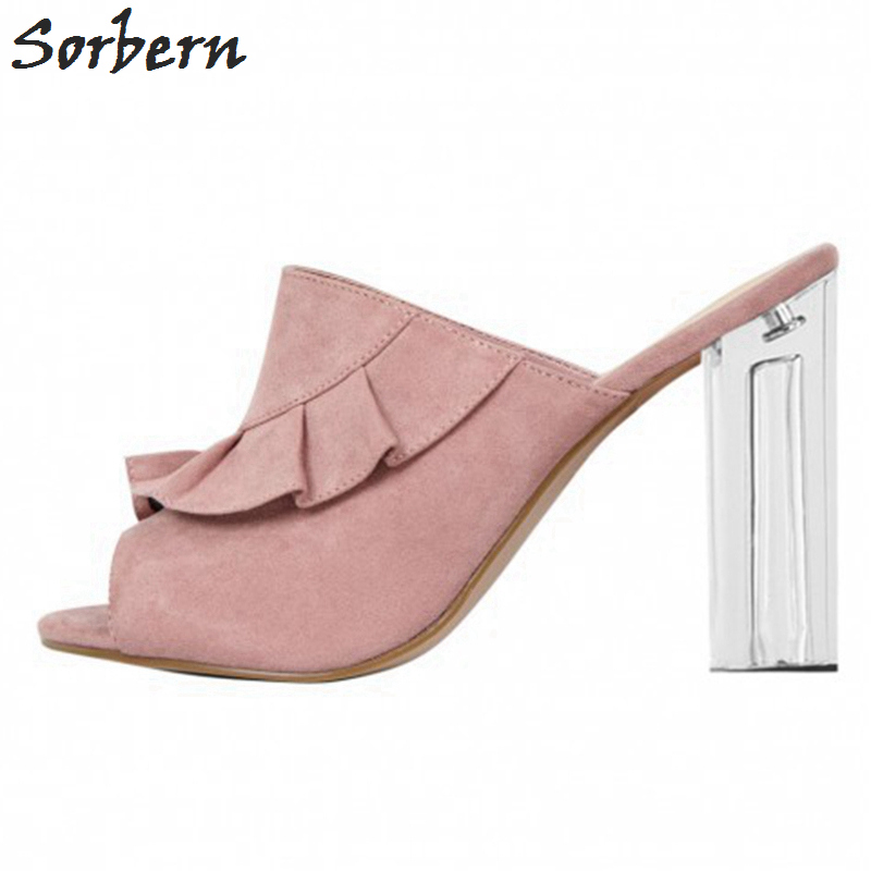 Sorbern Fashion Slippers Shoes Woman Open Toe Summer Styles Clear High Heels Transparent Ladies Slides Custom Color Ladies Shoes stylesowner rabbit fur plush high heel slippers transparent clear slippers clip toe thin high heels shoes ladies shoes for women