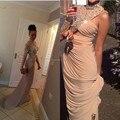 2015 Nueva Largo de Baile Vestidos de La Celebridad de la Alfombra Roja con Crystal Gasa Cuello Alto Mujeres Sexy Kim Kardashian Vestido de Noche Vestidos