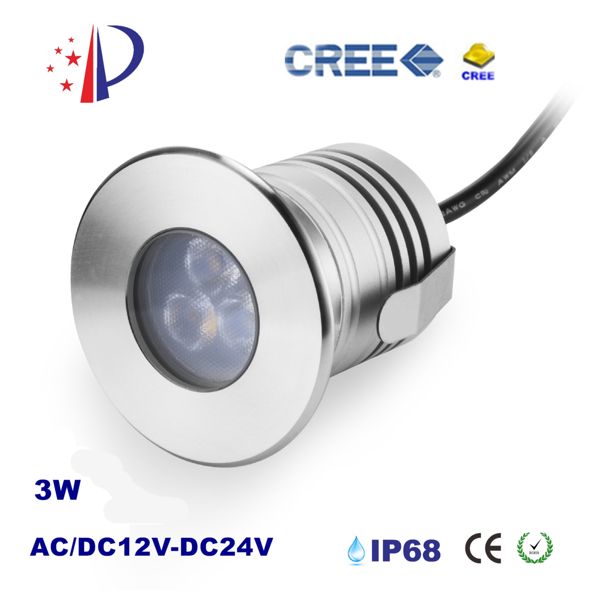 3W Safe Swimming Pool Spotlight IP68 Underwater Fountain Light DC12-24V Input Waterproof Downlight With Cree Chip CE List 4pcs