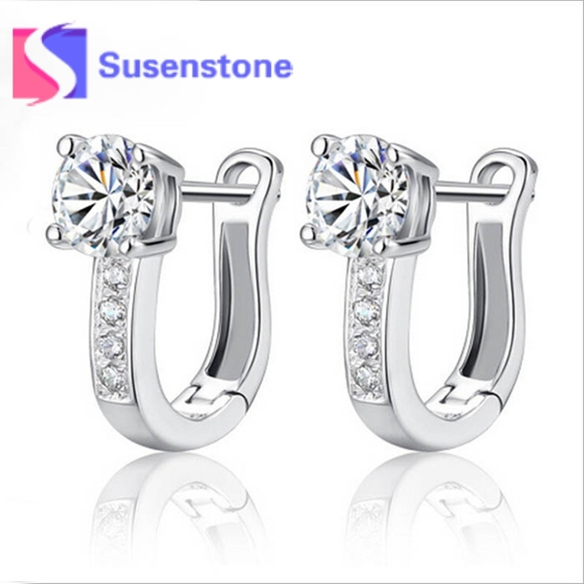 348ae8a49107e US $1.56 11% OFF|1 Pair Silver Huggies Earrings Small Round Rhinestones  Hoop Earrings Women's Fashion Wedding Party Jewelry Gifts Free Shipping-in  ...