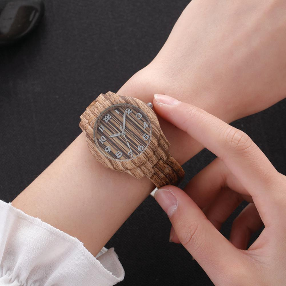 LinTimes Women Wristwatches Round Dial Fashion Simple Lady Imitation Wood Quartz Watch For Female
