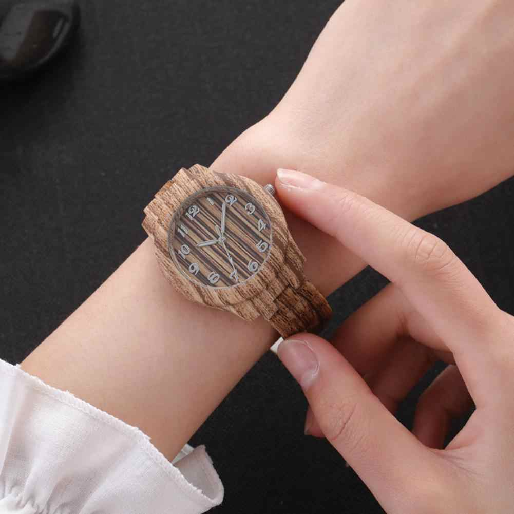 LinTimes Women Wristwatches Round Dial Fashion Simple Lady Imitation Wood Quartz Watch For Female