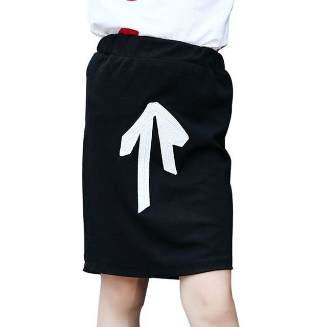 Korean Fashion Autumn Children Butterfly Knot Pattern Bust Skirt Sweet Girl Package Cotton Skirts Leisure Elastic Black Skirt