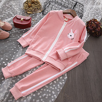 Children Clothing Sets Casual Tracksuits Baby Girl Cartoon Rabbit Sport Suit Kids Casual Zipper Coat+trousers 2pcs Sets Girl Set