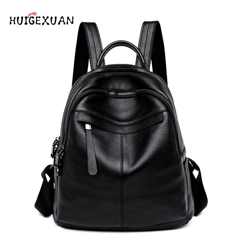 Femmes 100% sacs à dos en cuir véritable femme haute qualité sac à dos grande capacité vacances loisirs Style fille cartable gros sacs de voyage
