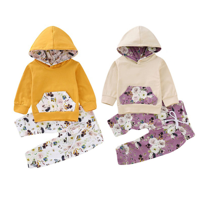 2 Pcs Cotton Spring <font><b>Autumn</b></font> New Fashion <font><b>Baby</b></font> Boys <font><b>Girls</b></font> <font><b>Clothes</b></font> Set Floral Print Tops+Long Pants <font><b>Newborn</b></font> <font><b>Clothes</b></font> Sweatshirt Set image