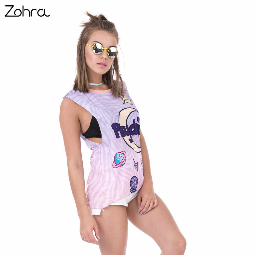 f31c0bbd884755 Zohra New Design Woman Tops Psychic Moon Printing Vest Women Fashion Slim  Open Sleeve Tank Top