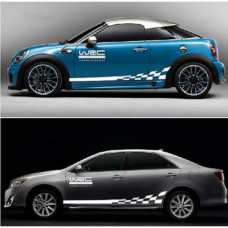 Image 3 - 45CM * 15CM 1 Pair WRC Car sticker BK KK Reflective Sliver Material 1 Pair Gird Pattern Auto Vehicle Body Decoration Stickers-in Car Stickers from Automobiles & Motorcycles