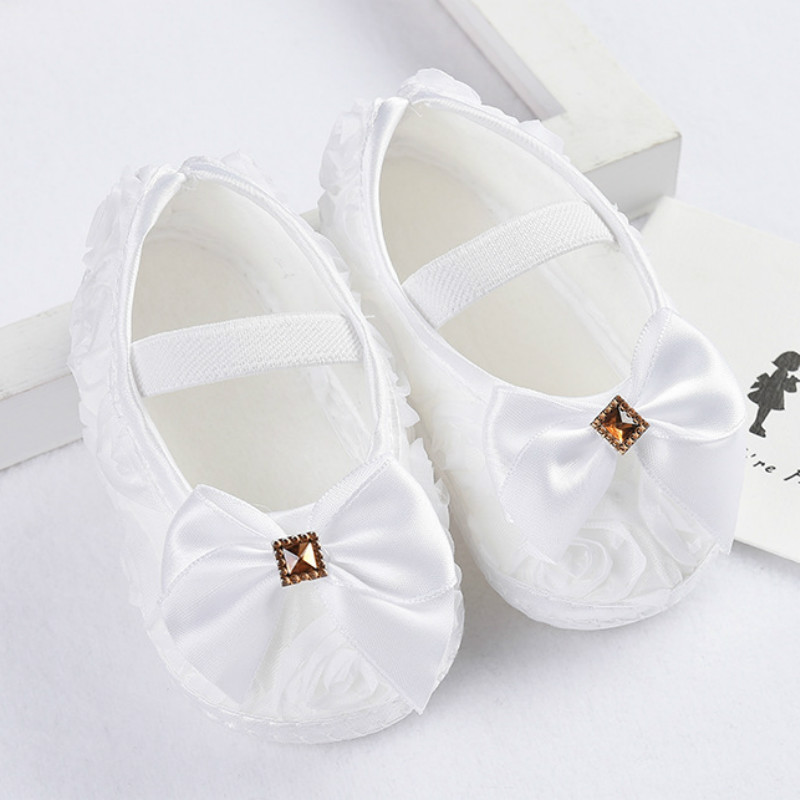 Baby Girl Shoes Ribbon Bow First Walkers Princess Baby Shoes Rose Flowers Bow Newborn Soft Anti-slip for infant Girls 2