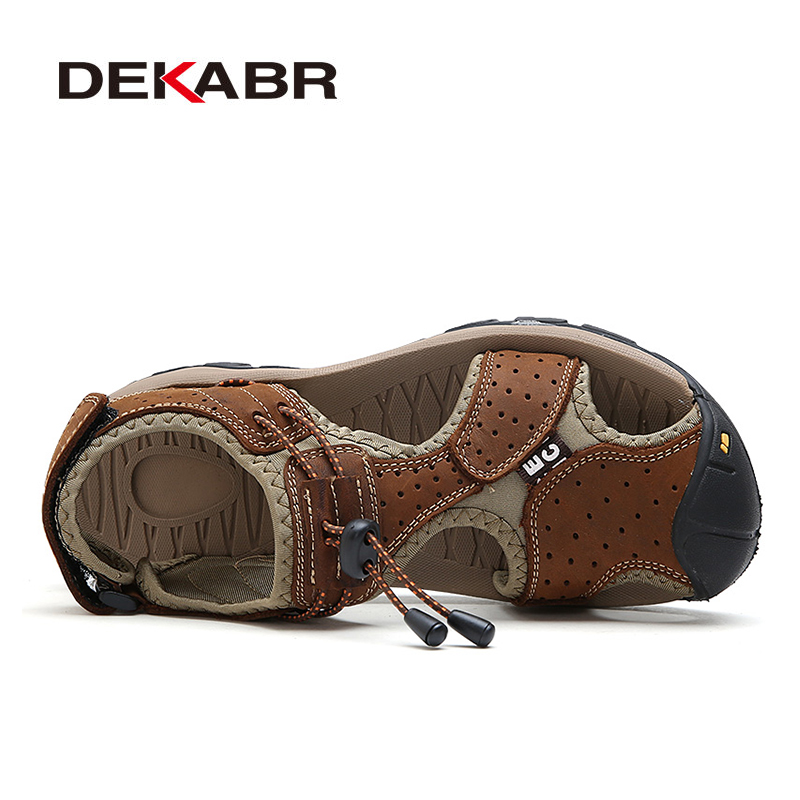 Image 2 - DEKABR High Quality Men Sandals Fashion Genuine Leather Casual Shoes Classic Style Male Sandals Breathable Summer Shoes for Menshoes classicshoes forshoes for men -