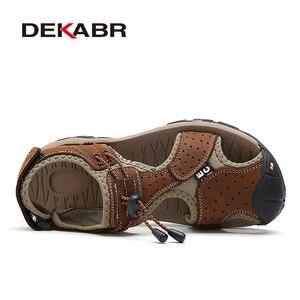 Image 2 - DEKABR Sandalias casuales de cuero genuino para hombre, zapatos transpirables de estilo clásico, para verano
