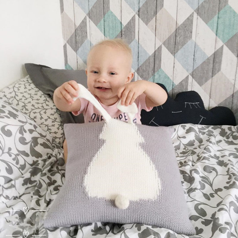 Baby Pillow Knit Three-dimensional Rabbit Cushion Cute Newborn Sleep Appease Toys Knitted Car Sofa Decorative Cushions 35x35cm