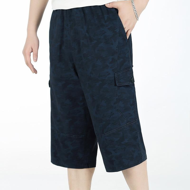 2019 Men Long Cargo Shorts Male Summer Bermuda Elastic Waist Army Camo Baggy Short Plus Size Big 4XL 6XL Loose Large Camouflage