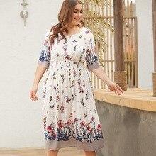 WHZHM White Flower High Waist Loose Plus Size 3XL 4XL Dress Tunic Women Vestido Casual Summer V-Neck Floral Printed Dress Jurken недорого