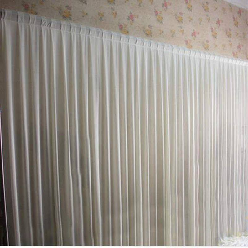 3M*6M Plain Sheer White Wedding Drape Wedding Stage Background Decoration White Wedding Backdrop Curtain For Event Party Decor