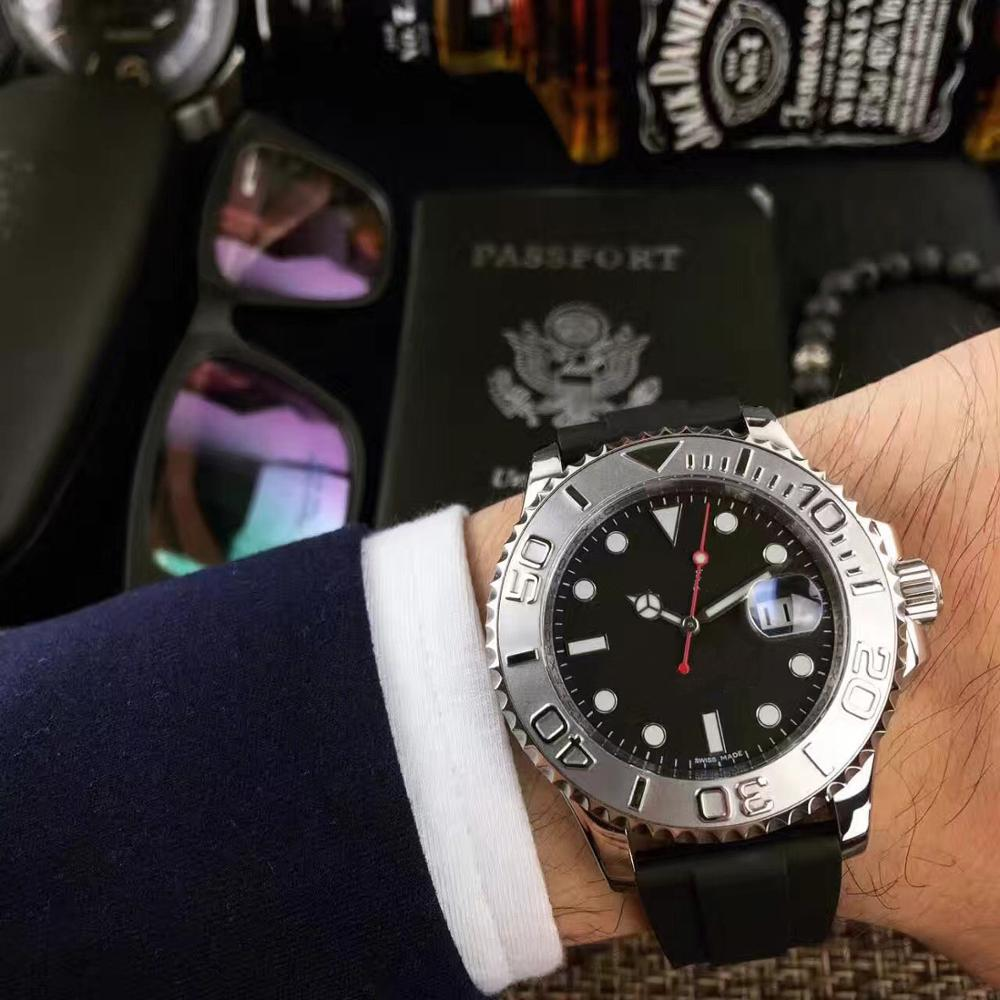 High quality luxury men's watch yacht master 116622 silver case black ceramic ring 2813 automatic mechanical original strap watc