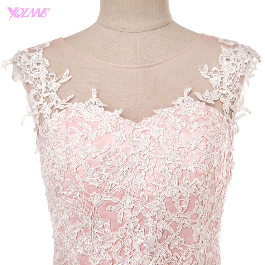 YQLNNE Elegant Pink Long Prom Dresses Real Photos Lace Appliques Beading  Tulle Party Dress 6b86b67f4db5
