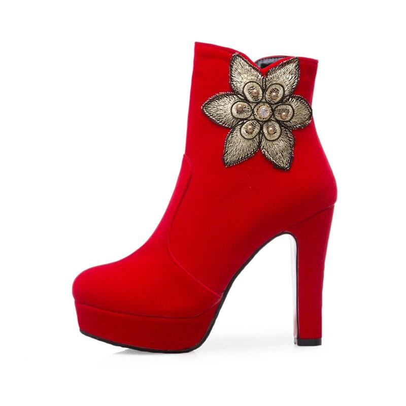 Dimensioni Alla Partito Stivali Aggiungere Talloni Sexy 34 Inverno Degli Femminile  Caviglia Di Pelliccia Alti Modo 2018 Rossi Della Donne red Scarpe ... 7ecacd76c7d