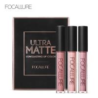 FOCALURE 3Pcs Long lasting Lip Colors Makeup Waterproof Tint Lip Gloss Red Velvet Ultra Nude Matte Lipstick Colourful