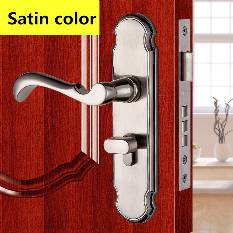 5A497 Satin color Modern style Door lock bedroom room bathroom lock with handle lock high quality 6pcs door lever handle lock set interior door lock living room bedroom bathroom door handle lock free shipping