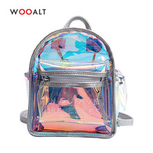 Wooalt 2019 Women Small Backpack Mini Travel Bags Silver Transparent Laser Shoulder Bag PU Leather Holographic