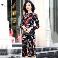 Truevoker Autumn Designer Dress Women S High Quality Long Sleeve Astronaut Printed Black Knee Length Pencil