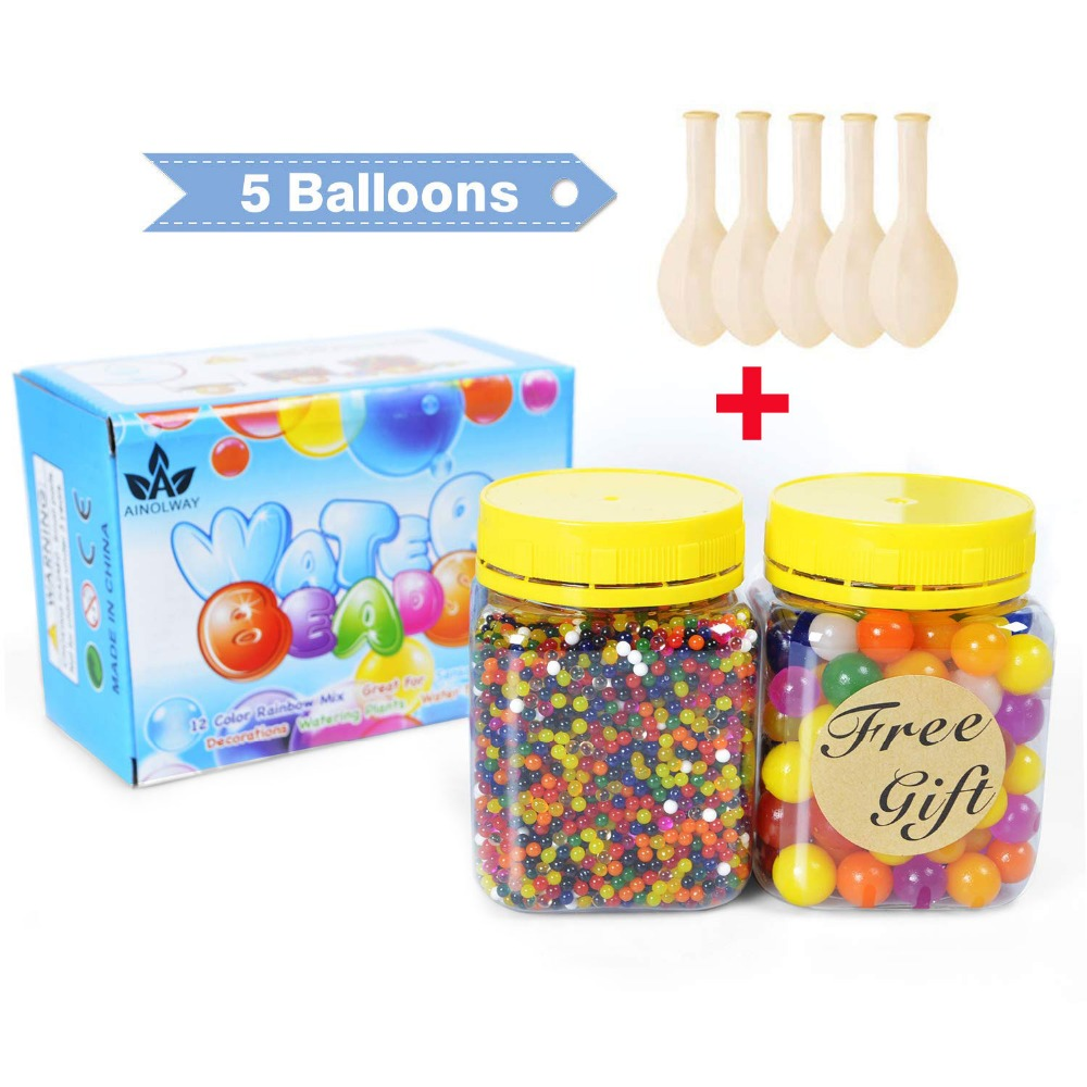 Water Beads Pack Rainbow Mix for Orbies Spa Refill Kid Sensory Toys and Vase Decor 20000 Small Beads /100 Large Beads/5 Ballons