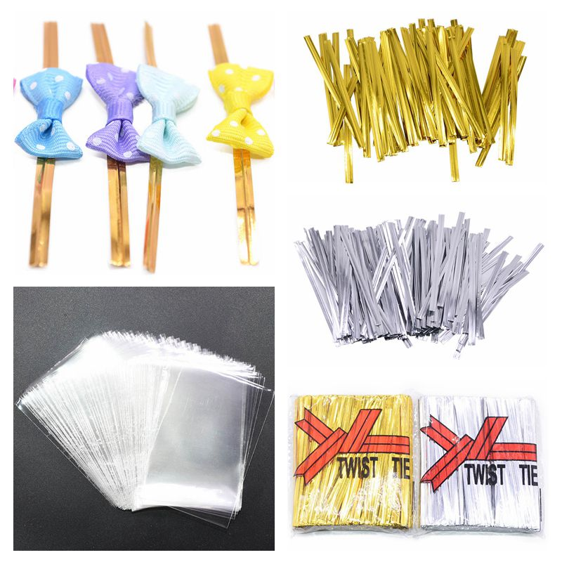 40/100pcs Bowknot Metallic Twist Wire Ties Candy Lollipop Baking Clear Packaging Bags For Wedding Party Cake Wrapping Supplies 8