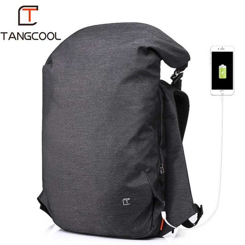цена Tangcool Men's Backpack Casual USB Charging Waterproof Big Travel Bag College Student Computer Designer Backpack Men Fashion