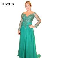 Элегантный зеленый с кружевной аппликацией Мать невесты платья с одежда с длинным рукавом линии этаж Длина шифон Женское вечернее платье